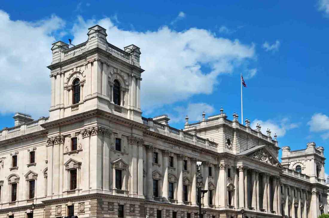 HM Treasury headquarters in London, United Kingdom