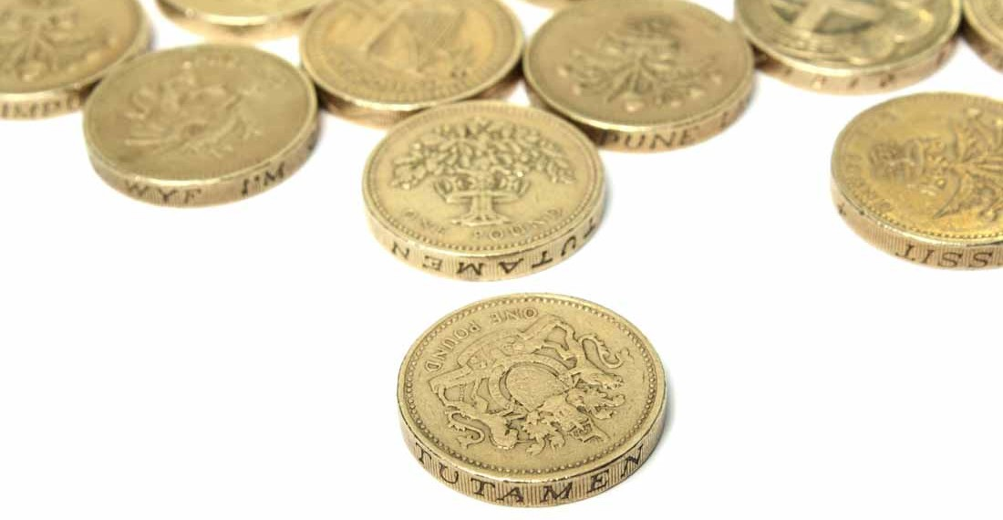 British Pound Coins on a white background for copy space